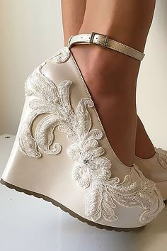 18 Gorgeous Bridal Shoes For Stunning Brides ❤ See more: http://www.weddingforward.com/gorgeous-bridal-shoes/ #weddings #shoes