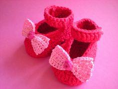 Babyschuhe Babyballerinas von Bunt gehäkelt von Petra auf DaWanda.com