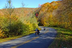 Riders near the south end of the parkway around MP 463 enjoy fall color