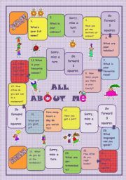 With this game you can make your Ss talk about themselves. They have to answer some easy questions. This activity can be used for a quick warming up, for revising or just for fun. English Grammar Quiz, English Games, May Activity, All About Me Worksheet, First Day Of Class, What Is Miss, Question Game, Vocabulary Worksheets, Family Game Night