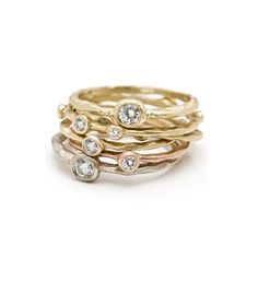 14K Gold 5 Diamond Pod Textured Band Stacking Ring