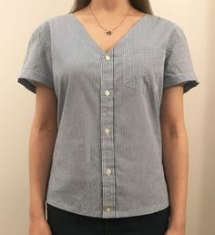 Sewing Men Clothes Transform a Button-Front Shirt Into a Cute New Tee - Restyle a classic wardrobe staple into a brand new top. Sewing Men, Sewing Clothes, Diy Clothes, Remake Clothes, Sewing Shirts, Umgestaltete Shirts, Men's Shirts And Tops, Upcycling T Shirts, Upcycle Shirts