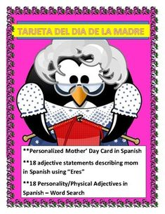 Make your own Mother's Day Cards with your Students This exciting lesson has a pattern for a cover card/writing page for mom. Print the cover page/writing page in white Secure them by opening a hole on the top with a hole puncher and a paper fastener. Middle School Spanish, Elementary Spanish, Elementary Teacher, Spanish Words, Spanish Lessons, Spanish 1, Teaching French, Teaching Spanish, Spanish Mothers Day