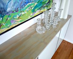 Dans le Lakehouse: DIY Stained Plywood Floating Credenza Top