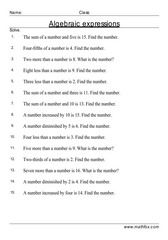 Math worksheets on algebra. Suitable PDF printable algebra worksheets for children in grade, grade, grade and grade 4th Grade Math Worksheets, Algebra Worksheets, Folder Games, File Folder, Algebra Equations, Algebraic Expressions, Student Teaching, Summer School, Classroom Management