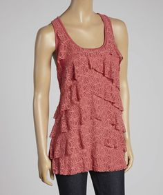Look at this #zulilyfind! Holly Berry Lace Tier Tank #zulilyfinds