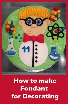 Mad Scientist Cake  How to make Fondant and other tutorials here.