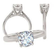 18k lab-created 7mm round moissanite engagement ring with natural diamond trellis