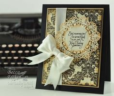 9-29-12.  RECIPE:  Stamps:Our Daily Bread Designs-Keep Climbing  Paper: My Minds Eye, The Paper Company – Cream White, The Paper Company – Black  Ink: Versafine Onyx Black  Accessories: Spellbinders™ Vintage Lace Motifs,Spellbinders™ Standard Circles LG,Spellbinders™ Venetian Motifs, satin ribbon,Recollections Pearls