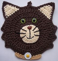 Crocheted Kitchen Potholder Cat Decoration