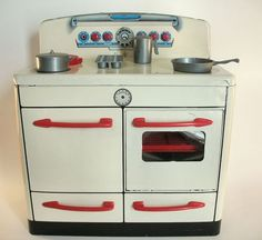 Vintage 1950's Wolverine Metal Kitchen Stove with Accessories