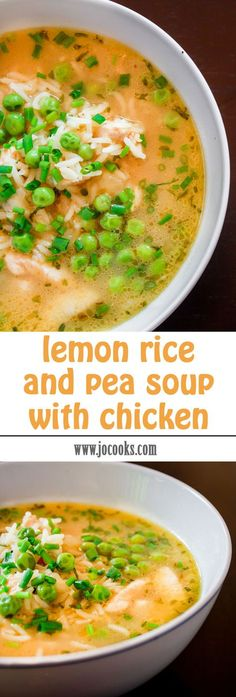 Yummy Lemon Rice and Pea Soup with Chicken - perfect for a cold winter day or even for a sore throat! It's lemony and delicious!