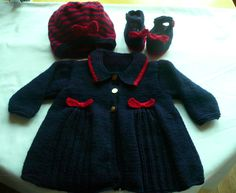 navy blue coat, beret and shoes with red contrast to fit 6-12 months