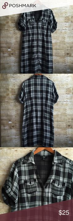 Oversized Plaid Shirt Dress In EUC!  Plaid is everywhere this Fall!! This dress is perfect with boots!!! Super soft and comfortable!! AGB Dresses