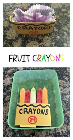 Create a Special Themed First Day of School Lunch and make these Fruit Crayons! #CapriSunCrew (sponsored)