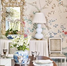 Interior designer designed the most beautiful dining room using our wallpaper by Decor, Beautiful Dining Rooms, Home Decor, Room Inspiration, Dining Room Wallpaper, Dining Room Decor, Shabby Chic Furniture, Chic Dining Room, Wall Coverings
