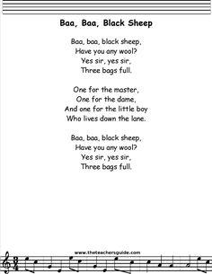Baa Baa Black Sheep lyrics, printout, midi, and video. Nursery Rhymes Lyrics, Nursery Songs, Kids Nursery Rhymes, Rhymes For Kids, Great Song Lyrics, Songs To Sing, Baby Songs Lyrics, Music Lyrics, Kindergarten Songs