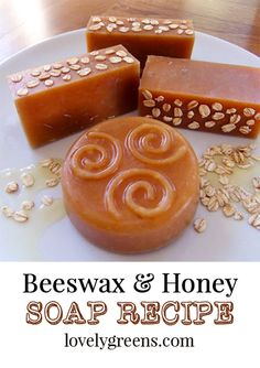 Recipe for how to make honey and beeswax soap. Includes tips on how much beeswax to use in a soap recipe, and how to use honey to tint soap caramel-brown Beeswax Recipes, Soap Recipes, Salve Recipes, Honey Soap, Home Made Soap, Bee Keeping, Soap Making, How To Make, Golden Brown
