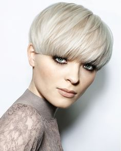 short blonde straight coloured bowl cut white bob Womens office hairstyles for women-pin it from carden