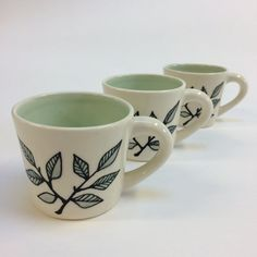 Espresso Cup  Minty Leaves by krystalspeck on Etsy