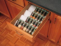Spices in the drawer. So much easier to find what you're looking for and you can't knock anything over!