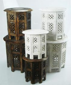 Beautiful round brown & white hand carved #indian wooden #coffee #table side,  View more on the LINK: 	http://www.zeppy.io/product/gb/2/200969691832/