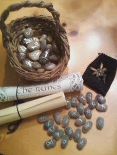 Divination:  Handmade Runes.  Buy a bag of stones from any craft store, and use a marker to inscribe a rune on each stone.