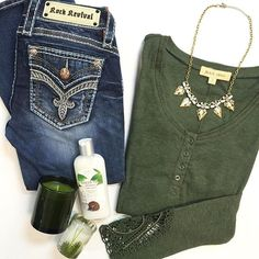 "Last minute shopping?! Let us help you get the perfect gift set  Lace Cuff Button Thermal $50 | Rock Revival ""Taime"" Bootcut $169 