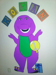 GIANT BARNEY! DIY hand drawn from poster board! Stands 4 ft tall!!!