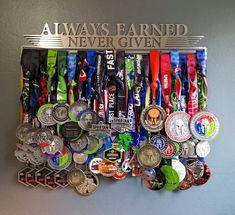 Always Earned Never Given l Medal Holder Medal Rack Medal Spartan Race, Demi Marathon, Race Medal Displays, Display Medals, Kona Ironman, Hanging Medals, Triathlon, Medal Rack, Trophy Display