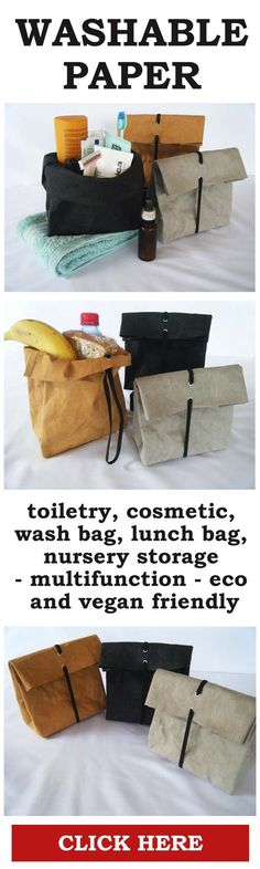 Washable Paper - Made from paper, looks like leather, washes like fabric. A very handy paper bag with many different uses. Transforms from a paper bag into a storage container.