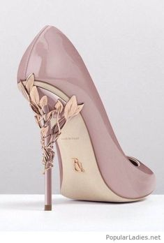 24dc0631f02 Pink shoes with gold details. Ralph   Russo Eden Heel ...