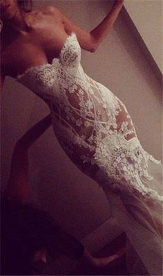 sexy mermaid wedding dress.. Love the style but without the sheer see through