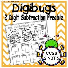 Digital download (8 pages) FREEBIE available at https://www.teacherspayteachers.com/Product/DigiBugs-2-Digit-Subtraction-Freebie-3053252 These pages are designed to give students extra practice with 2 digit subtraction (with or without regrouping) and are ideal for classroom centers, homework, and home school activities. If you like this freebie, please follow me for updates. The full version is coming soon!