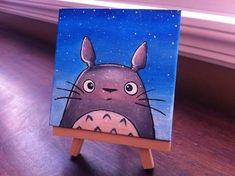 Acrylic on Mini Canvas Totoro Fairytale Art. Acrylic on Mini Canvas Small Canvas Paintings, Easy Canvas Art, Small Canvas Art, Cute Paintings, Mini Canvas Art, Acrylic Painting Canvas, Acrylic Art, Diy Canvas, Toile Disney