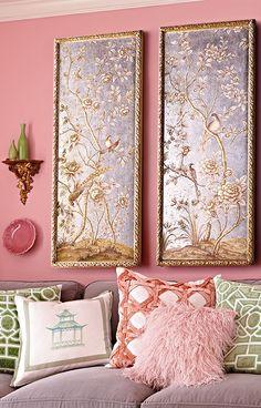 Interior Decorating, Interior Design, Decorating Tips, Chinoiserie Wallpaper, Framed Wallpaper, Living Room Green, Asian Decor, Asian Inspired Decor, Plywood Furniture