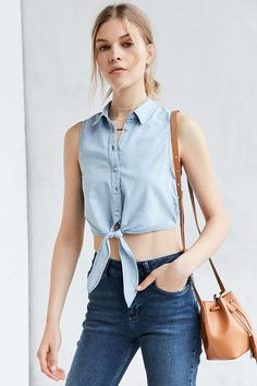 BDG Elie Tie-Front Button-Down Blouse - Urban Outfitters