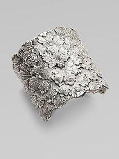 Buccellati - Sterling Silver Vine Leaf Cuff Bracelet at Saks I Love Jewelry, Jewelry Art, Fashion Jewelry, Jewelry Design, Gold Jewellery, Silver Bracelets, Silver Rings, Sterling Silver Necklaces, Handmade Jewelry