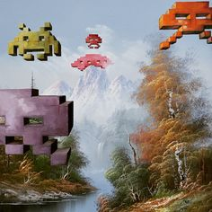 """Artist upcycles old thrift store paintings into nerdy masterpieces. """"I grew up in the '80s and '90s, so I love the movies and video games from that time period,"""" Pollot told Mashable. His paintings, which would otherwise would be heaped into corners gathering dust, find new life as he paints on characters and objects from TV shows and movies like Ghostbusters, Doctor Who and Star Wars."""
