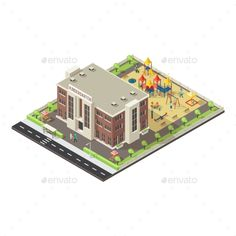 Colorful Isometric Children Playground Concept - Buildings Objects Download here : https://graphicriver.net/item/colorful-isometric-children-playground-concept/19634688?s_rank=24&ref=Al-fatih