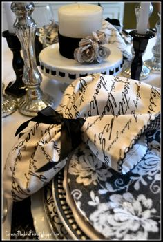Black and White Tablescape from corner of plaid and paisley.blogspot.com https://weddingmusicproject.bandcamp.com/album/catholic-wedding-hymns
