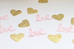 This super cute confetti comes in a set of 100; (50) pink love letters and (50) gold glitter hearts Each love piece measures 2 inches wide x