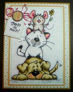 Whipper Snapper mouse, cat, dog, copic colored