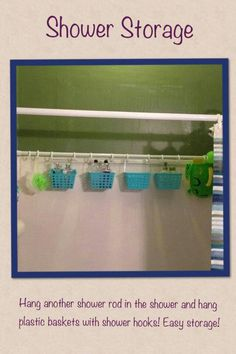 Shower organization. Great idea because I have no luck with the other things.-- I can't wait to try this. This would even be great in the single stall shower I have in the master bathroom!