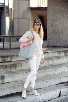 Katarzyna Tusk Is Wearing Cap From Marc O'Polo, Top From Pull & Bear, Trainers From Vagabond, Bag From O-Bag, Jeans From Mango And Sunglasse...