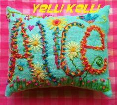 LARGE Deluxe Bohemian Name Pillow Made To Order por YelliKelli