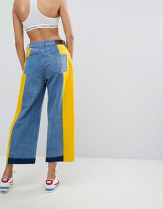 Tommy Jeans Annie Mid Rise Culotte with Color Taping - Blue Diy Fashion, Fashion Outfits, Fashion Design, Fashion Online, Custom Clothes, Diy Clothes, Jean Diy, Celebrity Casual Outfits, Iranian Women Fashion