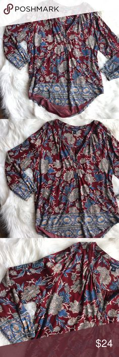 Lucky Brand Paisley Blouse Excellent condition lucky brand paisley blouse. Loose fit, perfect colors and style for fall! Great for layering! Size large. No trades, offers welcome. Lucky Brand Tops Blouses