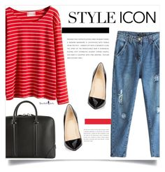 """RED STRIPES."" by fairouze ❤ liked on Polyvore featuring Christian Louboutin, Givenchy, women's clothing, women's fashion, women, female, woman, misses, juniors and bhalo"