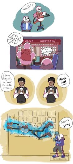"""Undertale comic - hahaha - sans and papyrus - impasta << I like to imagine Sans ordered Papyrus some punny dish like """"All the Pastabilities"""" (spaghetti with all the trimmings maybe?) and Papy very reluctantly enjoying it. Anime Undertale, Undertale Memes, Undertale Drawings, Undertale Comic Funny, Sans And Papyrus, Toby Fox, Underswap, Comic Sans, Indie Games"""